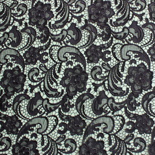 Charming Black Floral Lace French Lace Guipure Fabric